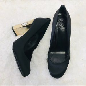 Tory Burch Black Satin Jewel Chunky Heels 8.5